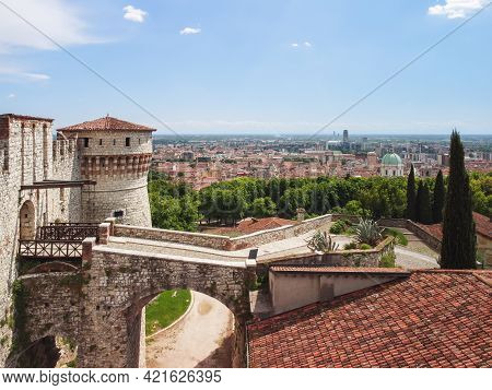 Beautiful View From A Drone To The Main Entrance With A Drawbridge To The Medieval Castle Of Brescia