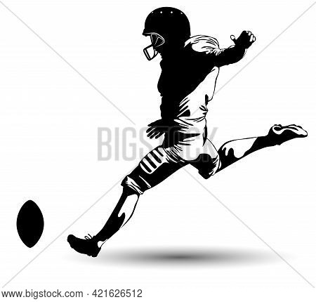 Black And White Image Of A Football Player Kicking The Ball Vector Illustration