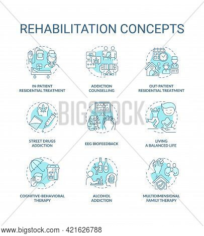 Rehabilitation Concept Icons Set. Addiction Recovery Steps. Addiction Treatment Methods. Rehabilitat