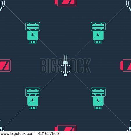 Set Battery For Camera, Dust Blower And Photo Flash On Seamless Pattern. Vector