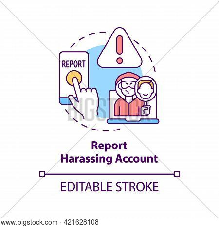 Reporting Harassing Account Concept Icon. Cyberbullying Prevention Idea Thin Line Illustration. Info