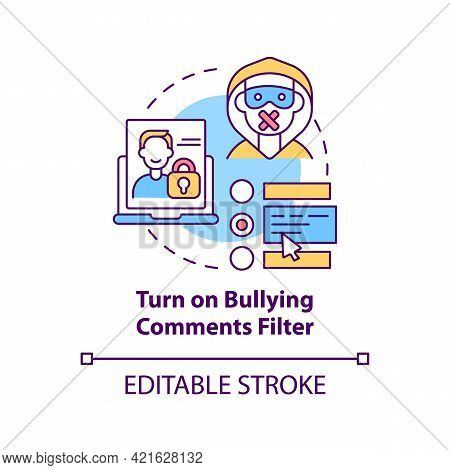 Turning On Bullying Comments Filter Concept Icon. Cyberbullying Prevention Idea Thin Line Illustrati