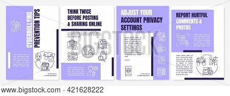 Cyberbullying Prevention Tips Brochure Template. Safe Cyberspace. Flyer, Booklet, Leaflet Print, Cov