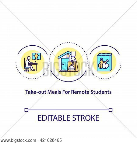 Take Out Meals For Remote Students Concept Icon. Preparing Healthy Meals For School Children. Organi