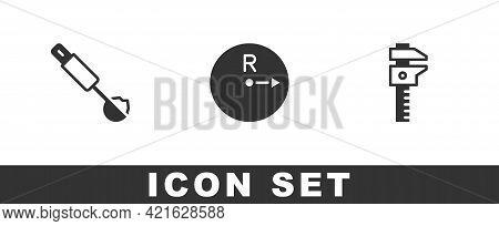 Set Measuring Spoon, Radius And Calliper Or Caliper And Scale Icon. Vector