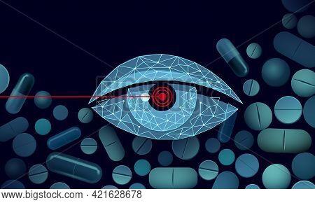 Dietary Supplement Vitamin Vision Capsule. Eye Clear Health Care Drug Medicine Science Chemistry Inn