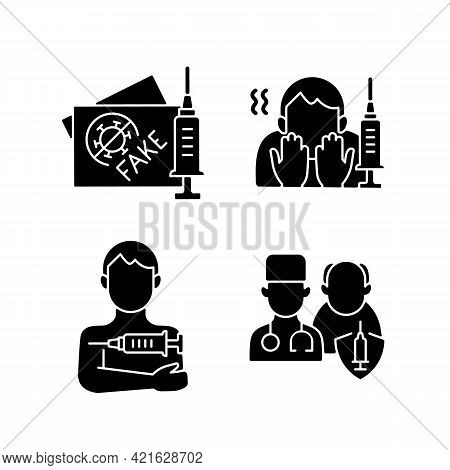 Vaccine Inoculation Black Glyph Icons Set On White Space. Fake Vaccinated Tourist Passport. Fear Of
