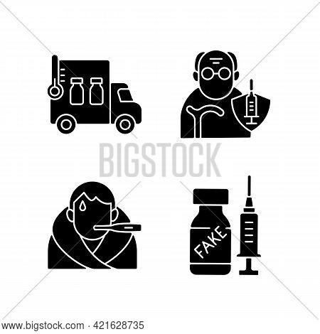 Covid Spread Prevention Black Glyph Icons Set On White Space. Vaccine Distribution. Senior Patient I