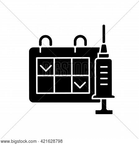 Two Dose Vaccination Black Glyph Icon. Schedule For Drug Injection. 2 Doze Vaccine Schedule. Hospita