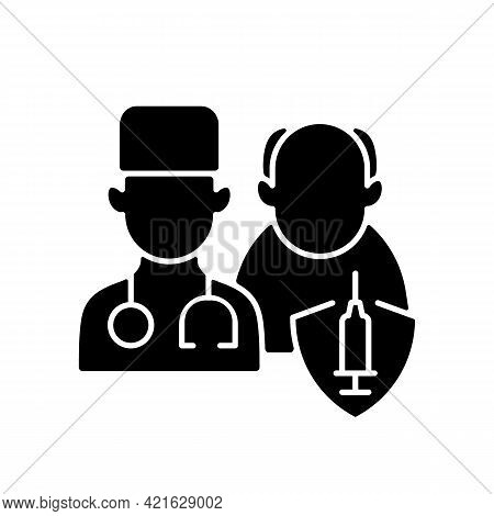Vaccination Priority List Black Glyph Icon. Senior Patient With Doctor. Age Group For Vaccine Inject