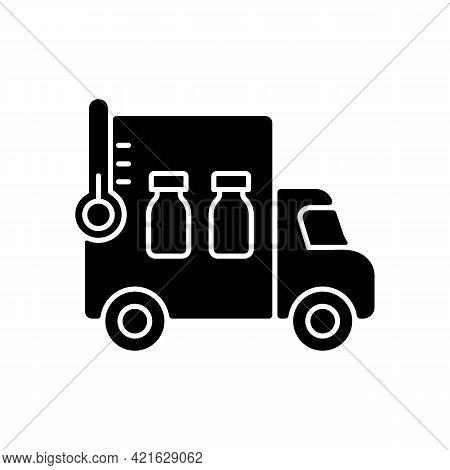Vaccine Transportation Black Glyph Icon. Drug Distribution. Pharmaceutical Remedy Shipment Van. Truc