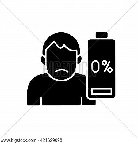 Vaccination Effect Black Glyph Icon. Drowsiness And Fatigue. Mental Burnout. Physical Weakness. Symp