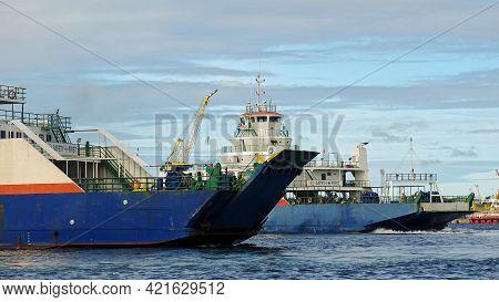 Labuan,malaysia-june 3,2019: View Of A Labuan Island Ro Ro Passenger And Vehicle Ferry Cruising In L