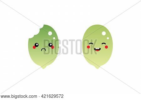 Couple Of Cartoon Style Green Raw Shelled Pumpkin Seeds Characters, Cute And Smiling And Sad With Bi