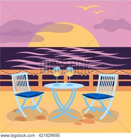 The Cafe On The Terrace Near The Sea With Sunset. Vector Illustration. Place For Romantic Date Near