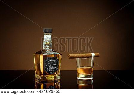 Phuket, Thailand- Feb 2021. Jack Daniel's Blended Whisky On Grey Background. Jack Daniel's Is A Bran