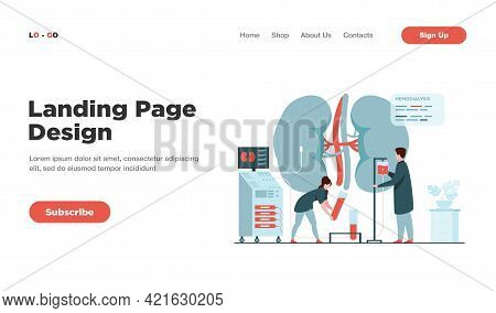 Doctors Conducting Dialysis Procedure For Kidney Treatment. Vector Illustration For Patient Hemodial