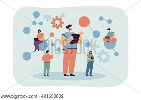 Group Of Cartoon Scientists Conducting Technological Studies. Flat Vector Illustration. People Resea