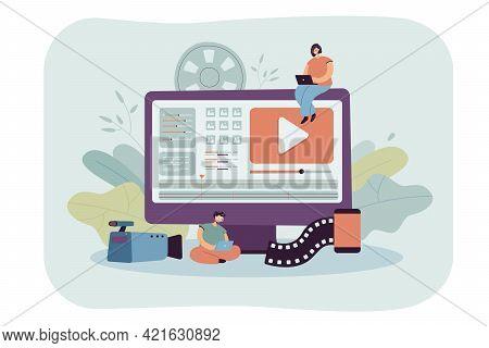 Tiny Video Editors Sitting On Giant Monitor. Flat Vector Illustration. Operators Making Video Editin