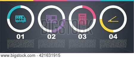 Set Line School Bus, Computer Monitor, Calculator And Acute Angle. Business Infographic Template. Ve