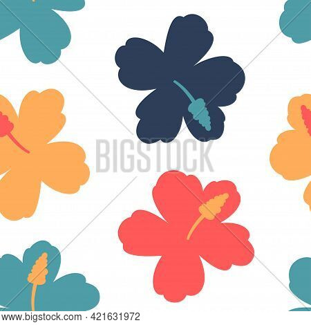 Hawaiian Flower Vector Seamless Pattern On A White Background For Wallpaper, Wrapping, Packing, And
