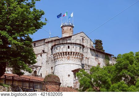 Beautiful View Of The Historic Castle Of Brescia Town (lombardy, Italy)