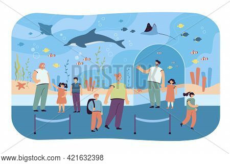Children With Parents In Oceanarium. Flat Vector Illustration. Kids And Adults Walking In Zoo And Wa