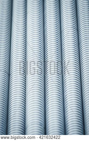 Plastic Corrugated Pipes In Agricultural Or Industrial Machinery. Part Of Hydraulic Or Pneumatic Equ