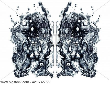 Rorschach Test Isolated On White Illustration, Random Abstract Blue Background. Psycho Diagnostic In