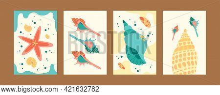 Beautiful Seashells Collection Of Contemporary Art Posters. Sea World Illustration Set In Pastel Col