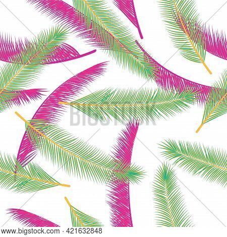 Organic Feather Fluff Vector Pattern. Pretty Wrapping Paper. Tribal Boho Feather Fluff Wallpaper Sea