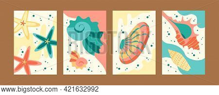 Bright Marine Collection Of Contemporary Art Posters. Sea World Illustration Set In Pastel Colors. C