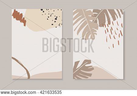 Set Of Tropical Summer Artistic Greeting Cards, Invitations. Banana Leaf And Dots. Abstract Geometri