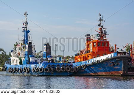 Kaliningrad Russia-august 16, 2017: Tugboats At The Berth In The Seaport, Russia