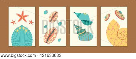 Bright Sea World Collection Of Contemporary Art Posters. Marine Illustration Set In Pastel Colors. C