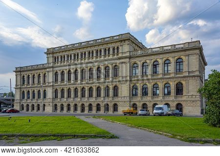 Kaliningrad, The Southern Facade Of The Historic Building Of The Former Konigsberg Stock Exchange, C