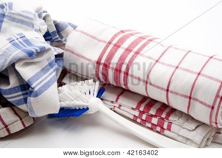 Kitchen Cloths on white  background