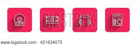 Set Line Cd Or Dvd Disk, Stacks Paper Money Cash, Headphones And Cinema Poster With Long Shadow. Red