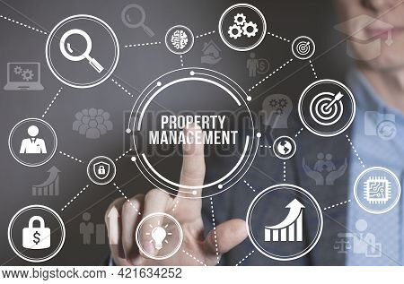 Internet, Business, Technology And Network Concept. Property Management Inscription, New Business Co