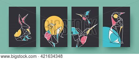 Set Of Contemporary Art Posters With Origami Hare And Rooster. Paper Animals, Hummingbird Pastel Vec