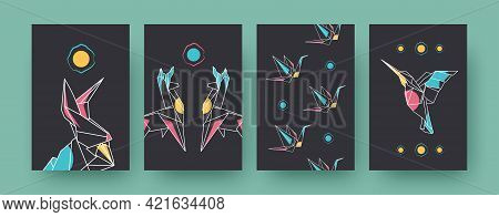 Set Of Contemporary Art Posters With Llamas And Cranes. Paper Animals, Hare, Hummingbird Pastel Vect