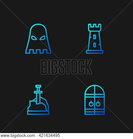 Set Line Medieval Castle Gate, Sword In The Stone, Executioner Mask And Castle Tower. Gradient Color