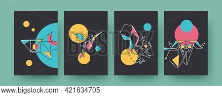 Set Of Contemporary Art Posters With Squirrel And Shark. Paper Hummingbird, Ram Vector Illustrations