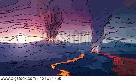 Volcano Eruption. Carved Layered Papercut With Shadows. 3d Rendering, Elements Of This Image Furnish
