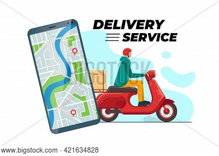 Safe Contactless Delivery Tracking Service App Concept Banner. Boy Courier In Motorbike Helmet On Re