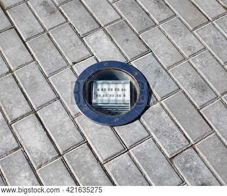 Outdoor Diode Floodlight Built Into The Tile, Close-up. Illumination