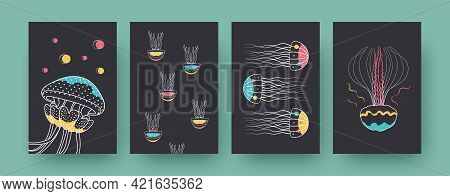 Collection Of Contemporary Art Posters With Groups Of Medusas. Jellyfishes Swimming Together Vector