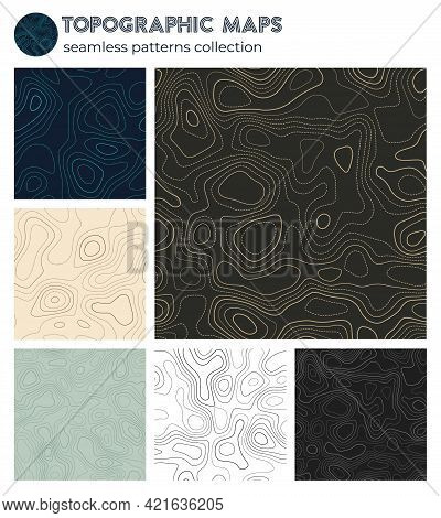 Topographic Maps. Artistic Isoline Patterns, Seamless Design. Trendy Tileable Background. Vector Ill