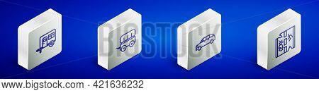 Set Isometric Line Rv Camping Trailer, Wild West Covered Wagon, Hatchback Car And Broken Road Icon.