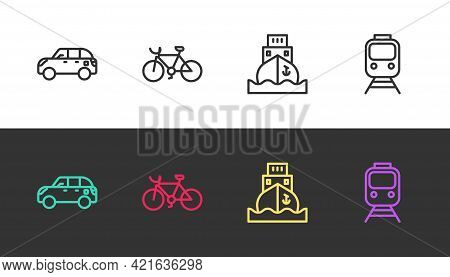 Set Line Hatchback Car, Bicycle, Cargo Ship And Train And Railway On Black And White. Vector